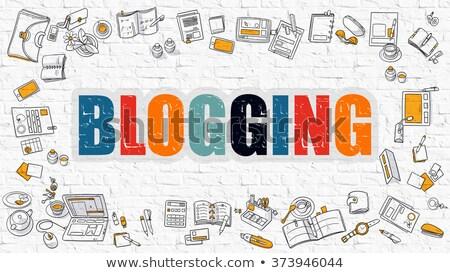 Blogging bianco moderno line stile illustrazione Foto d'archivio © tashatuvango