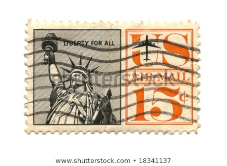 Old postage stamp from USA 15 cents with statue of liberty Stock photo © Hofmeester