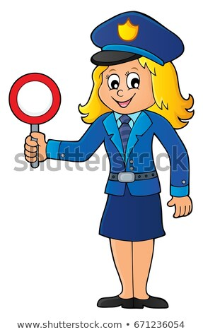 Policewoman holds stop sign theme 1 Stock photo © clairev