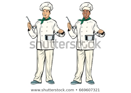 Caucasian and African chef with ladle and cooking pot Stock photo © studiostoks