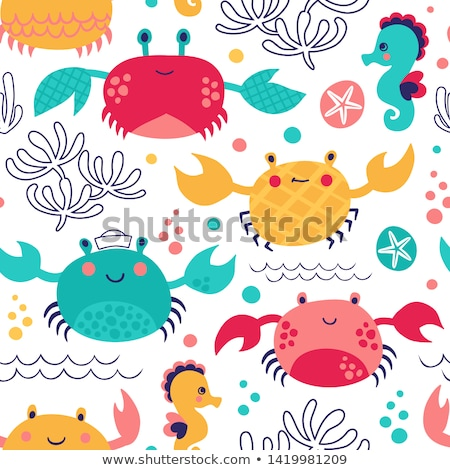cute cartoon animals on the beach  Stock photo © aminmario11