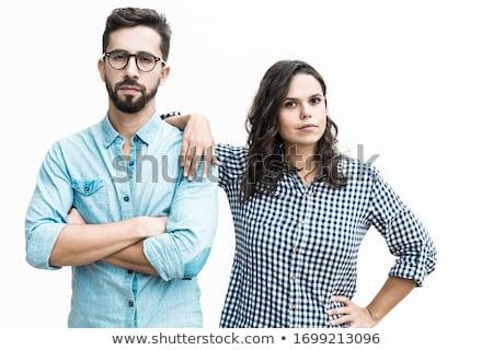 Sério casual mulher ombro em pé Foto stock © feedough