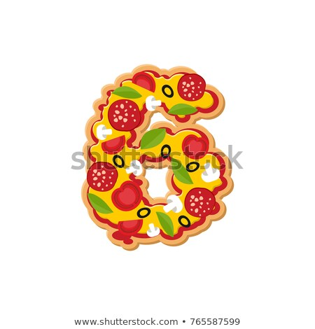 Number 6 pizza font. Italian meal alphabet numeral six. Lettring Stock photo © popaukropa