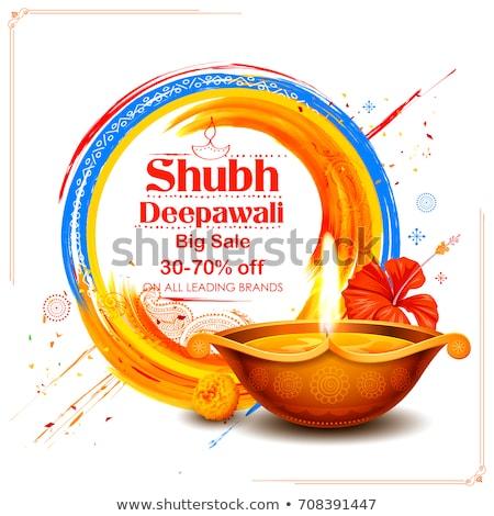Stock photo: creative diwali sale banner design with burning diya