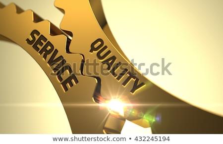 Golden Metallic Gears with Manufacturing Management Concept. Stock photo © tashatuvango