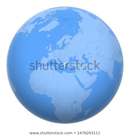 Görögország földgömb térkép zászló kilátás 3d illusztráció Stock fotó © Harlekino