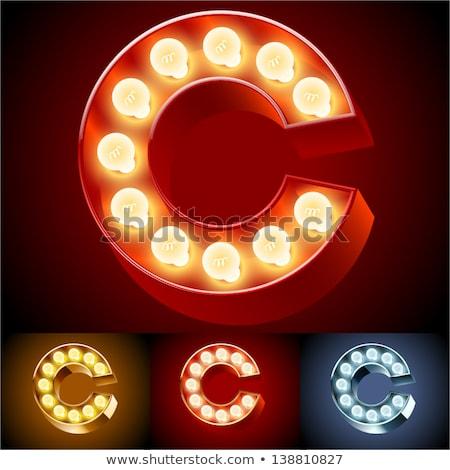 Letter c lamp doopvont vintage gloeilamp Stockfoto © popaukropa