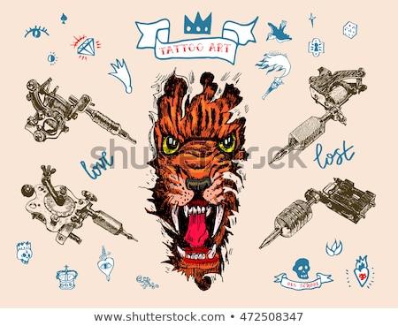коллекция различный стиль татуировка машина иллюстрация Сток-фото © vectomart