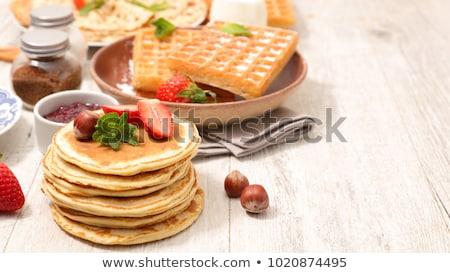 Palacsinta waffle crepe eper reggeli desszert Stock fotó © M-studio