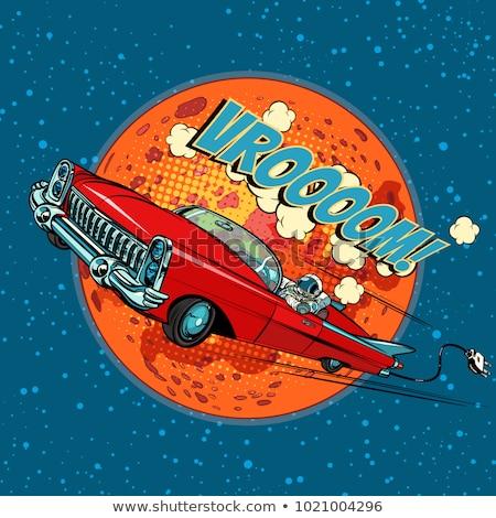 Astronauta carro elétrico retro cômico desenho animado Foto stock © studiostoks