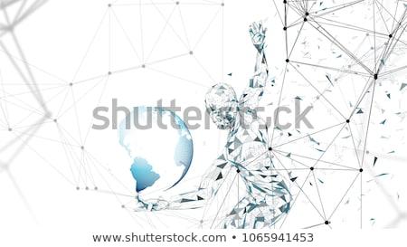 o · homem · 3d · novo · digital · era · vítreo · abrir - foto stock © cienpies