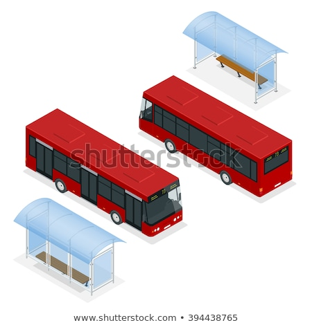 town waiting station isometric 3d icon stock photo © studioworkstock