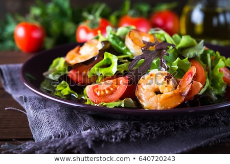 Gemengd salade garnalen voedsel diner mais Stockfoto © M-studio