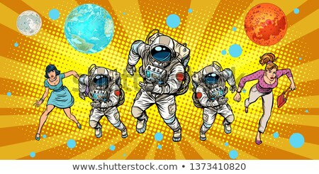 women and astronauts running around the universe Stock photo © studiostoks