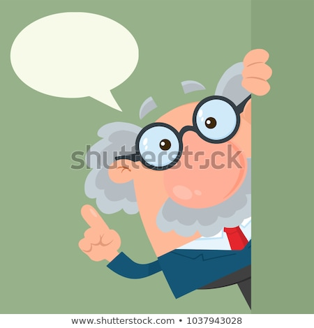 Stock photo: Professor Or Scientist Cartoon Character Looking Around Corner With Advice