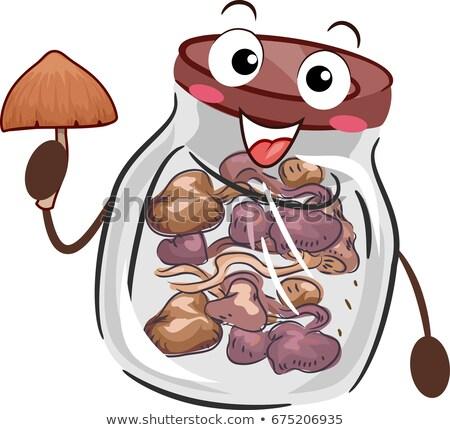 Psicodélico cogumelo garrafa armazenamento ilustração vidro Foto stock © lenm