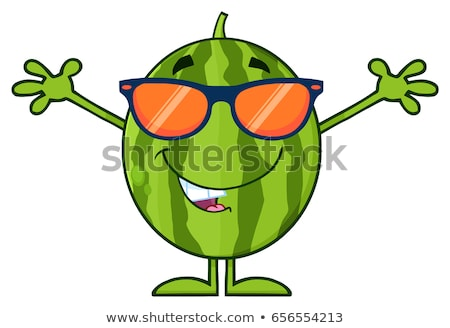 Groene watermeloen vers fruit cartoon mascotte karakter zonnebril Stockfoto © hittoon