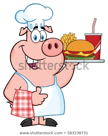 Chef Pig Cartoon Mascot Character Holding A Tray Of Fast Food And Giving A Thumb Up Stock photo © hittoon