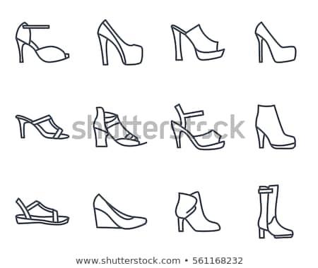 Cipők ikon gyűjtemény divat csizma sziluettek felirat Stock fotó © Terriana