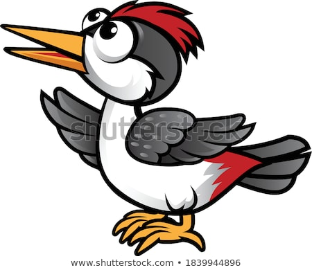 Cute Red Rooster Bird Cartoon Mascot Character Waving Stock photo © hittoon