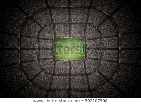 Top view of a soccer stadium at night with the lights on. 3D Rendering Stock photo © alphaspirit