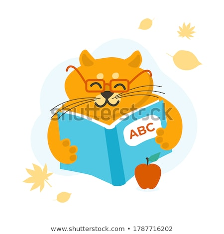 schoolboy and cat poster vector illustration stock photo © robuart