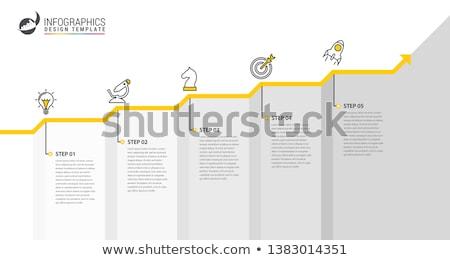 Stockfoto: Vector · vooruitgang · vijf · stappen · sjabloon · een