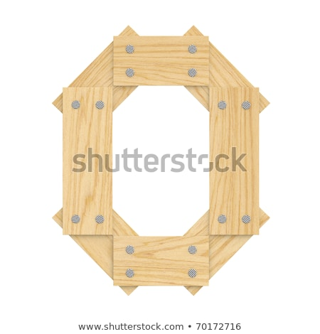 letter O wood board font. plank and nails alphabet. Lettering of Stock photo © popaukropa