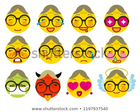 Set smile grandmother icon emotion joy, love, anger, sickness, sadness Stock photo © orensila