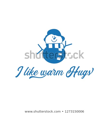 Season motivation quote I like warm hugs. Snowman with scar and hat. Christmas cute symbol. Design i Stock photo © JeksonGraphics
