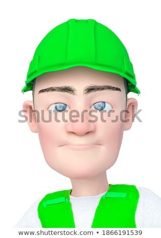 Cartoon boos bouwvakker jongen naar grafische Stockfoto © cthoman