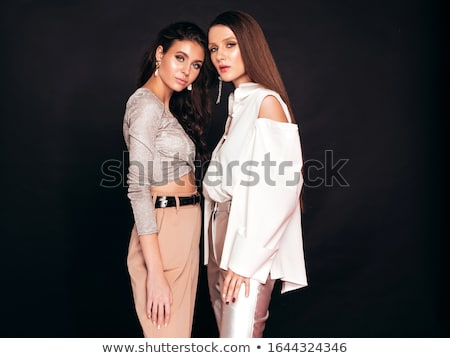 Morena preto roupa sensual posando branco Foto stock © acidgrey