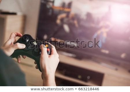 Vista posterior jugando videojuegos ordenador sesión teclado Foto stock © deandrobot