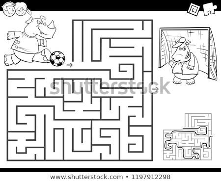 Labirinto cor livro rinoceronte jogar futebol Foto stock © izakowski