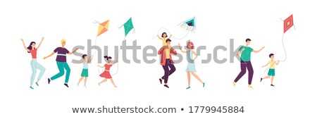 Happy Father And Child Son Launch A Kite Vector. Isolated Illustration Stock photo © pikepicture