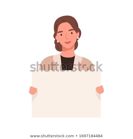 Zdjęcia stock: Wesoły · kobieta · arkusza · papieru · kolorowy · plakat