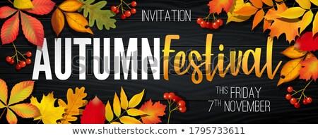 November autumn festival announcement, invitation banner with fallen leaves Stock photo © MarySan