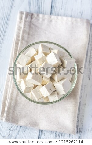 Cortar tofu vidro tigela leite branco Foto stock © Alex9500