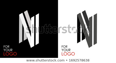 Black and white stripes Letter N 3D Stock photo © djmilic