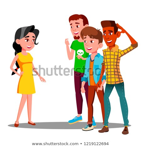 group of young guys watching after a beautiful girl vector isolated illustration stock photo © pikepicture