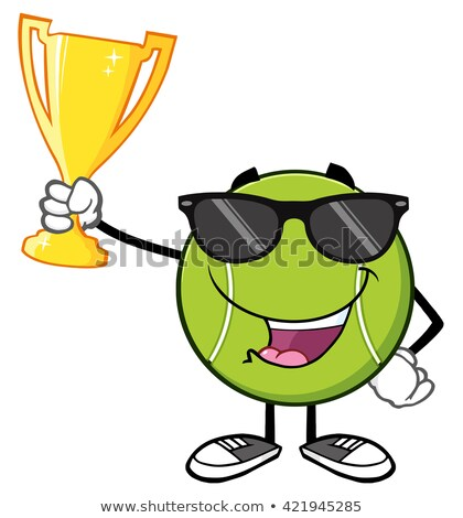 happy tennis ball cartoon character with sunglasses holding a trophy cup stock photo © hittoon