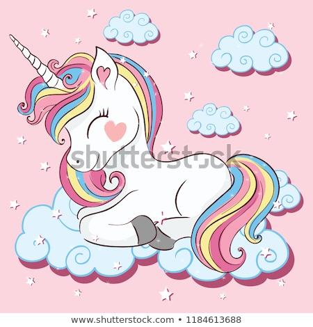 розовый · лошади · Cartoon · девушки · ребенка · природы - Сток-фото © bluering