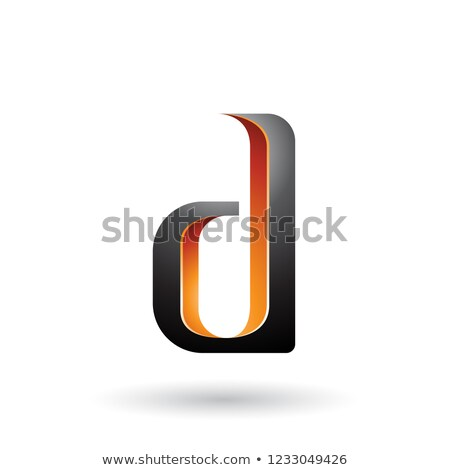 Orange and Black Shaded Letter D Vector Illustration Stock photo © cidepix