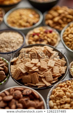 Stock photo: Close up and selective focus. Composition of different kinds cereals