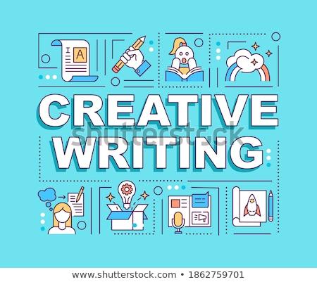 Képzelet ötletek fantázia fejléc szalag nyitott könyv Stock fotó © RAStudio