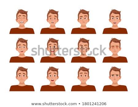 Férfi női arckifejezés illusztráció mosoly terv Stock fotó © colematt