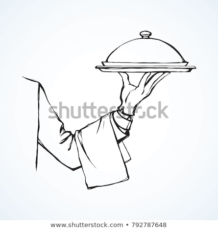 waitress and waiter with trays vector illustration stock photo © robuart