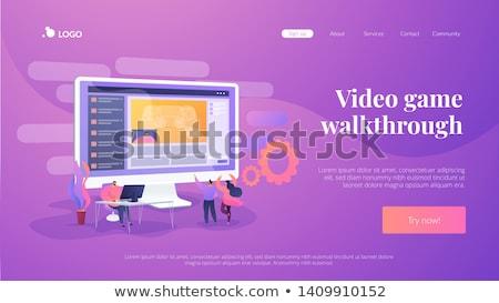 Jeu vidéo atterrissage page casque portable populaire Photo stock © RAStudio