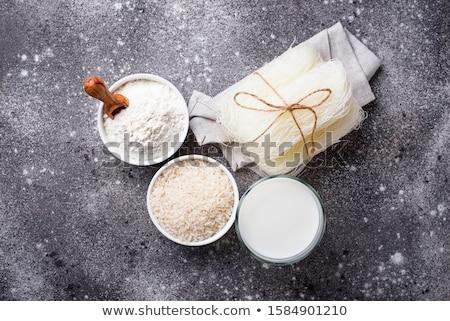 Foto stock: Sem · glúten · arroz · farinha · macarrão · leite