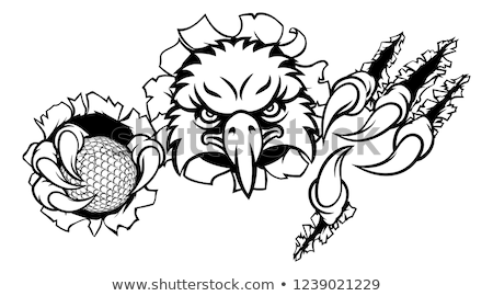 Eagle Golf Cartoon Mascot Ripping Background Stock photo © Krisdog